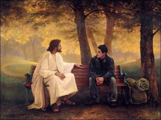 Jesus on bench